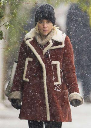 Emilia Clarke in Shearling Jacket out in London