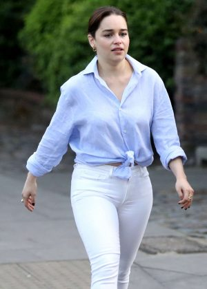 Emilia Clarke in White Jeans out in London