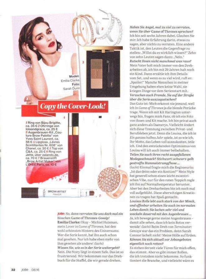 Emilia Clarke: Jolie Magazine 2016 -03