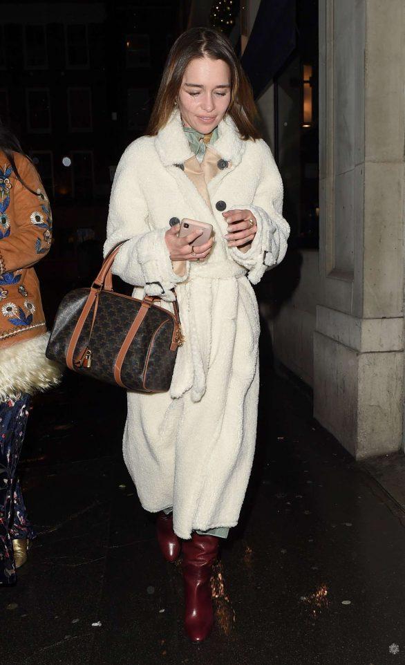 Emilia Clarke - Leaves a restaurant in Soho