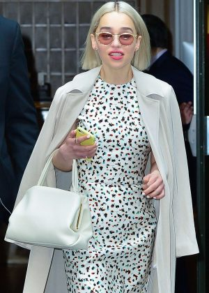 Emilia Clarke - Leaves 'Good Morning America' studios in NYC