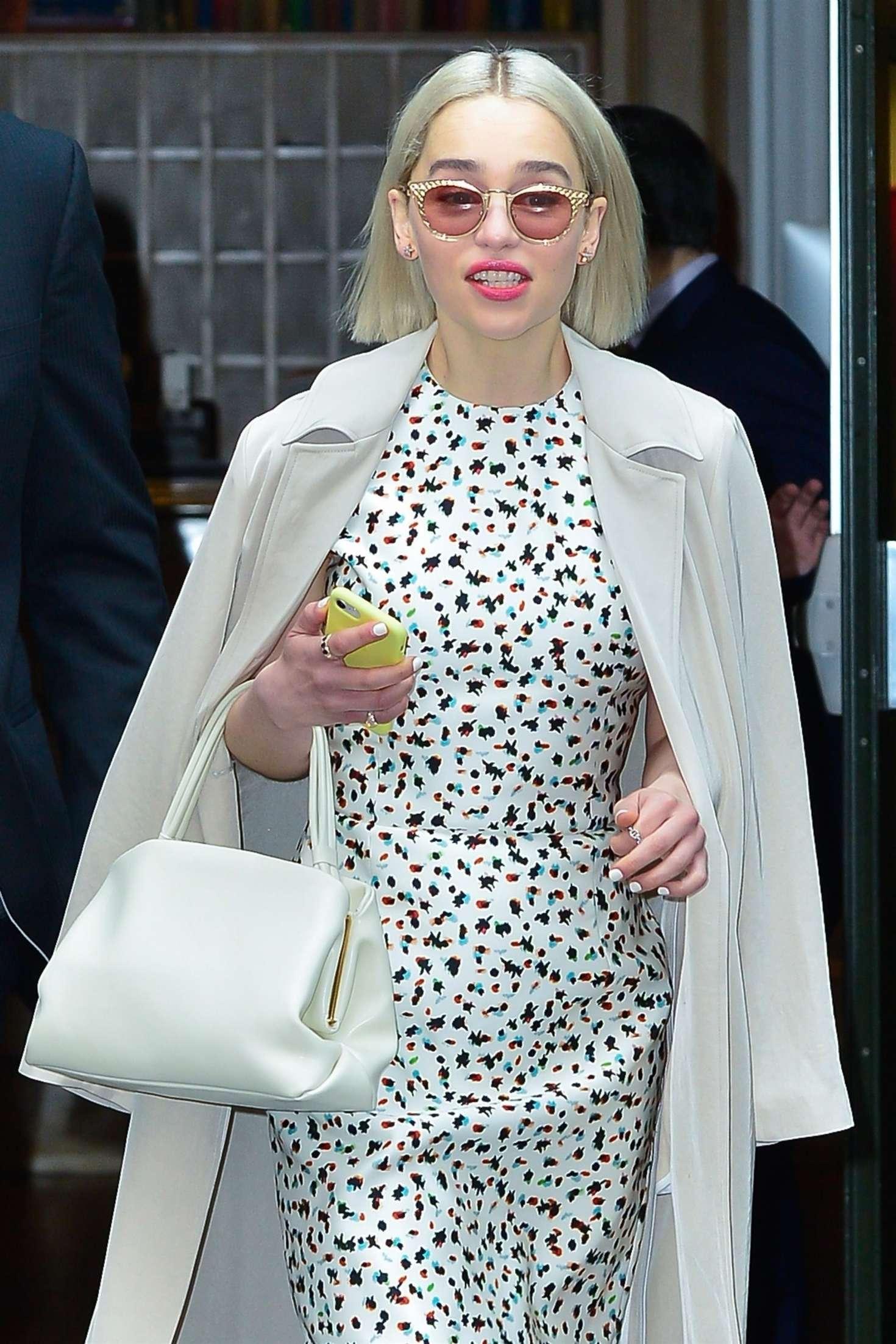 Emilia Clarke - Leaves 'Good Morning America' studios in NYC