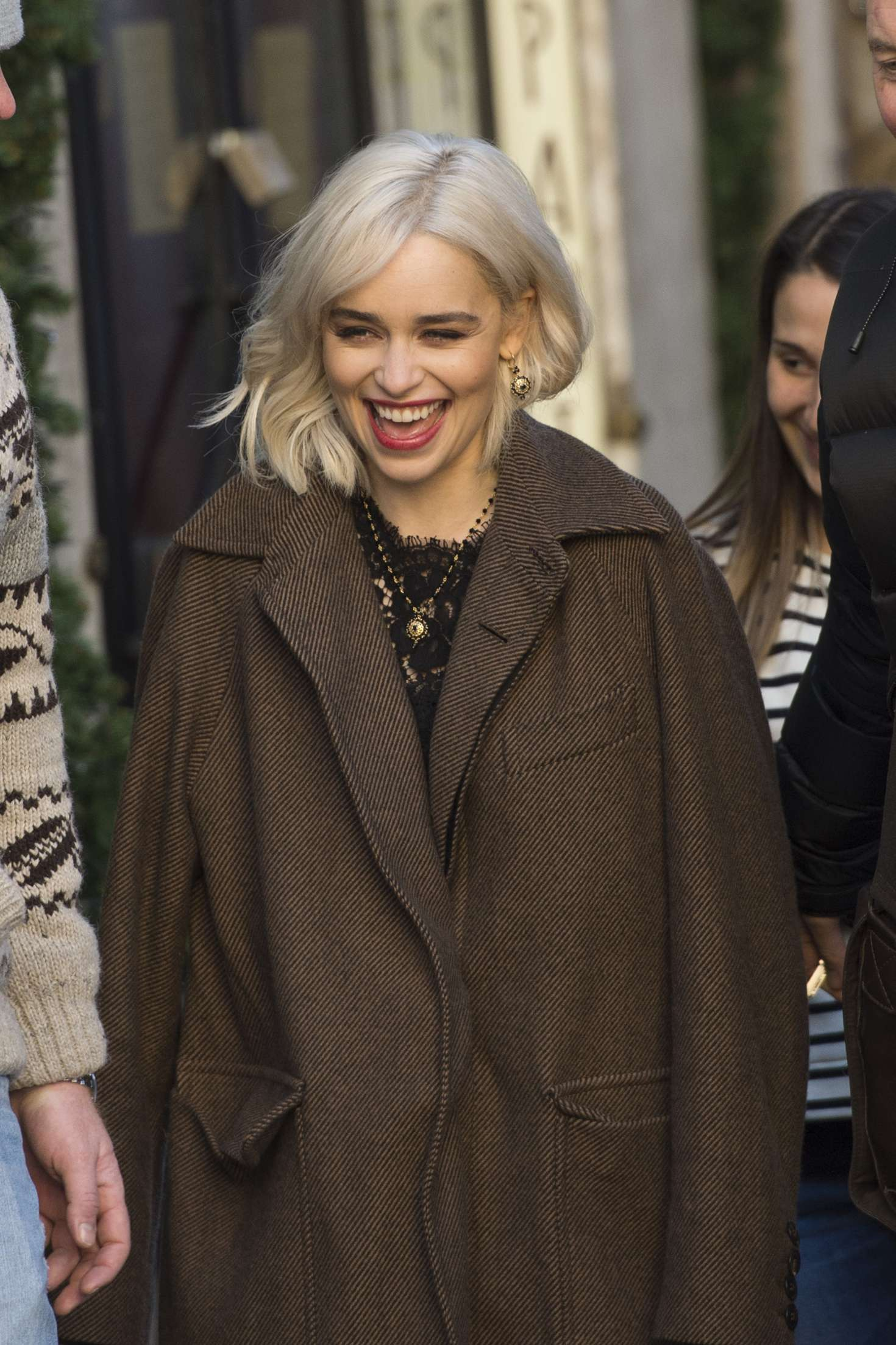 Emilia Clarke - On the set of a Dolce and Gabbana commercial in Rome