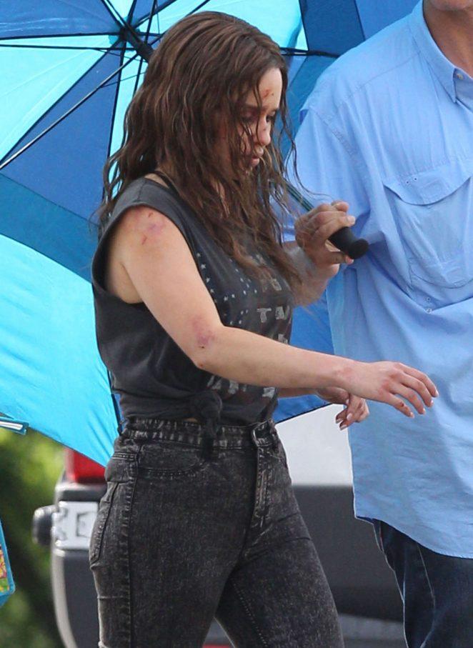 Emilia Clarke - On the set of 'Above Suspicion' in Los Angeles