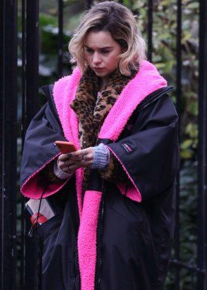 Emilia Clarke - On the set of 'Last Christmas' in London
