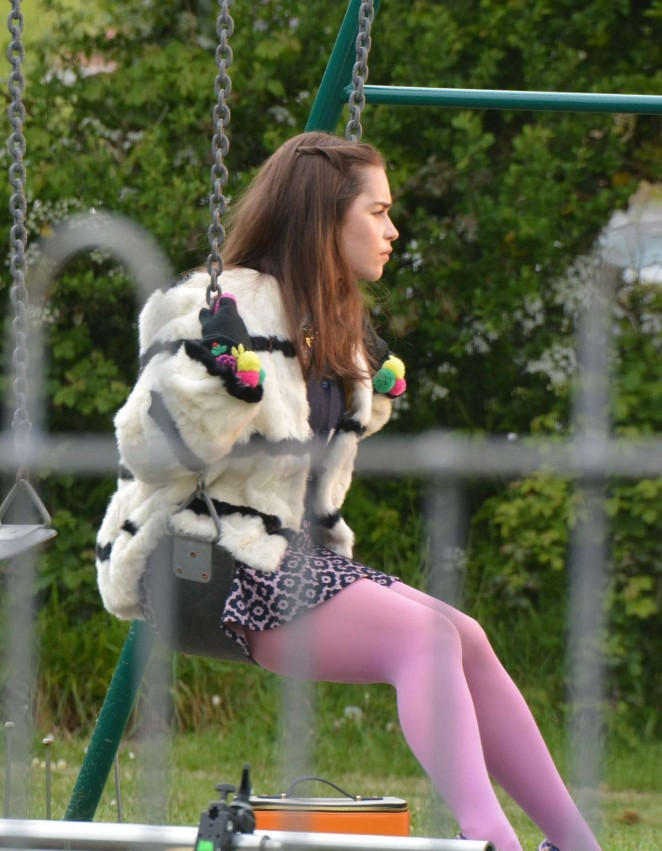 Emilia Clarke - On the Set of 'Me Before You' in Wales