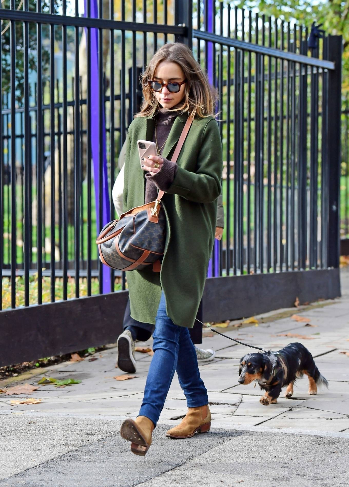 Emilia Clarke - Out for a dog waqlk in London