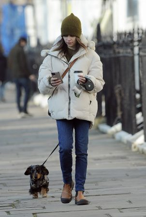 Emilia Clarke - Out with her dog in London