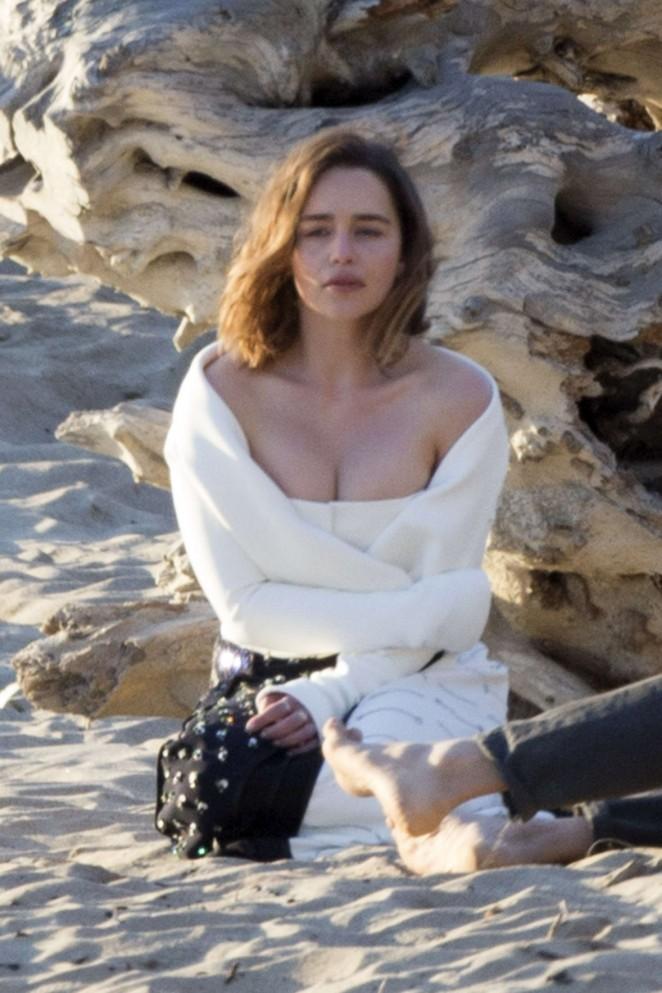 Emilia Clarke - Poses for a fashion shoot in Malibu