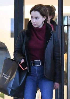 Emilia Clarke - Shopping at Barneys department store in New York City