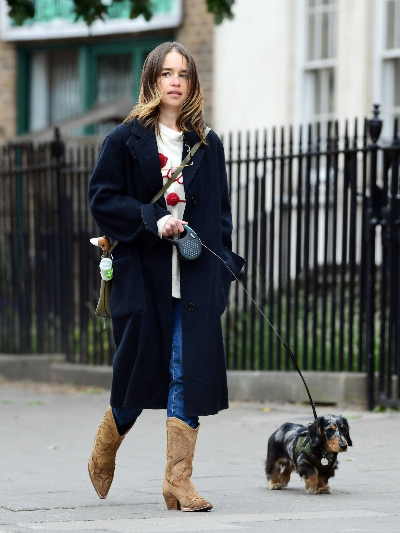 Emilia Clarke - Walking her dog as they visiting the park in London