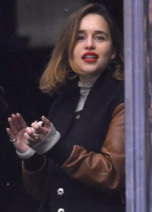 Emilia Clarke - Watching a Hockey game in LA