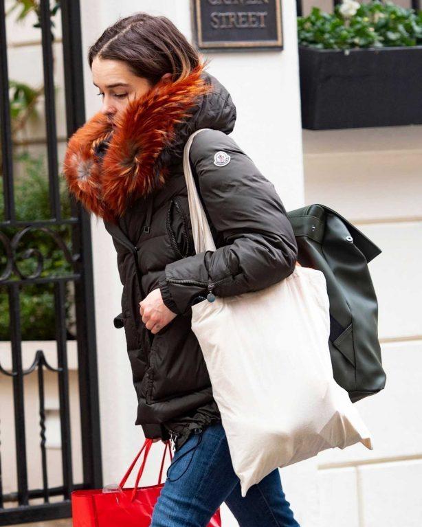 Emilia Clarke wears winter Moncler jacket in London