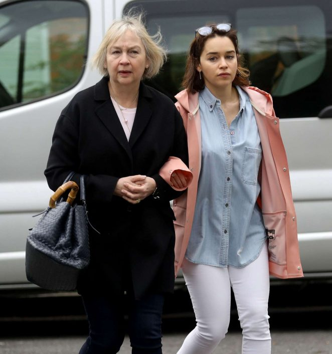 Emilia Clarke with her mother out in London