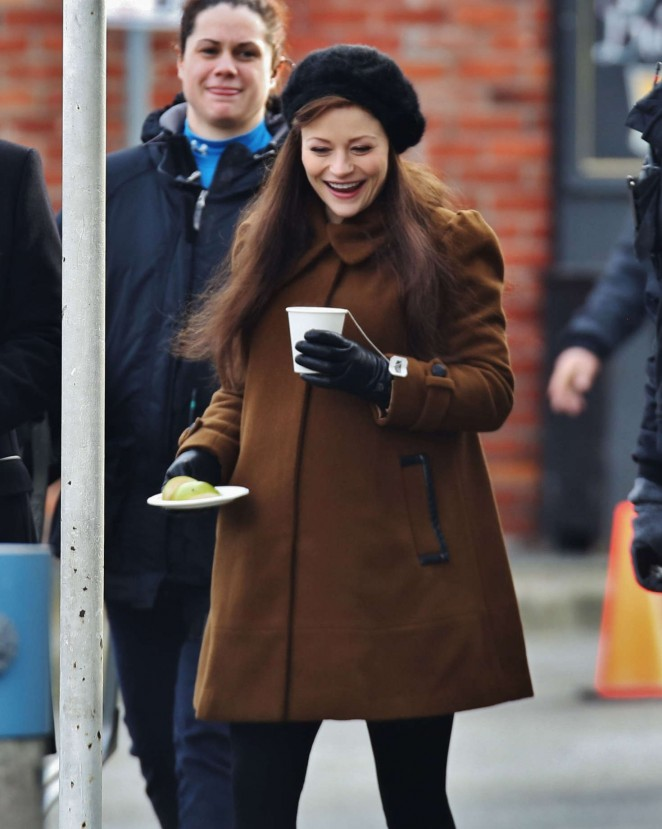 Emilie de Ravin on the set of 'Once Upon A Time' in Vancouver