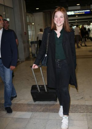 Emilie Dequenne Arrives at Nice airport in Cannes