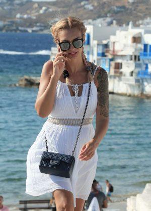 Emilie Nef Naf in Mini Dress out in Mykonos