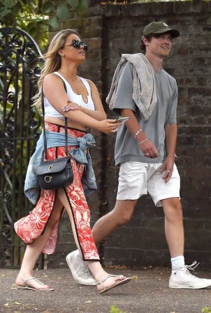 Emily Atack at daytime date with a mystery man at The Flask pub in Highgate
