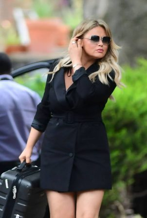 Emily Atack in Mini Shirt Dress - Out in London