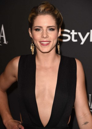 Emily Bett Rickards - InStyle And Warner Bros Golden Globes Party 2015 in Beverly Hills