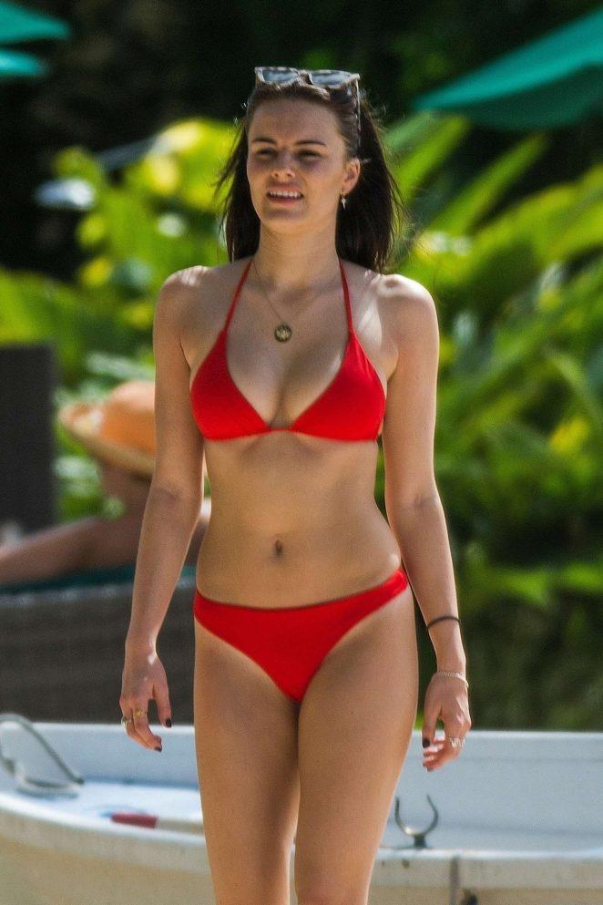 c531ba964b Emily Blackwell in Red Bikini on the beach in Barbados | GotCeleb