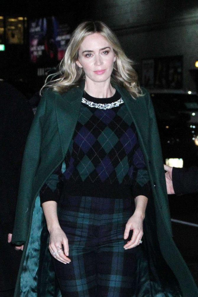 Emily Blunt - Arrives at The Late Show With Stephen Colbert in NYC