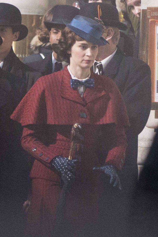 Emily Blunt as Mary Poppins on 'Mary Poppins Returns' set in London