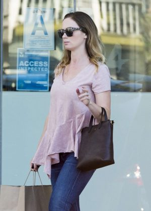 Emily Blunt in Jeans out in Studio City