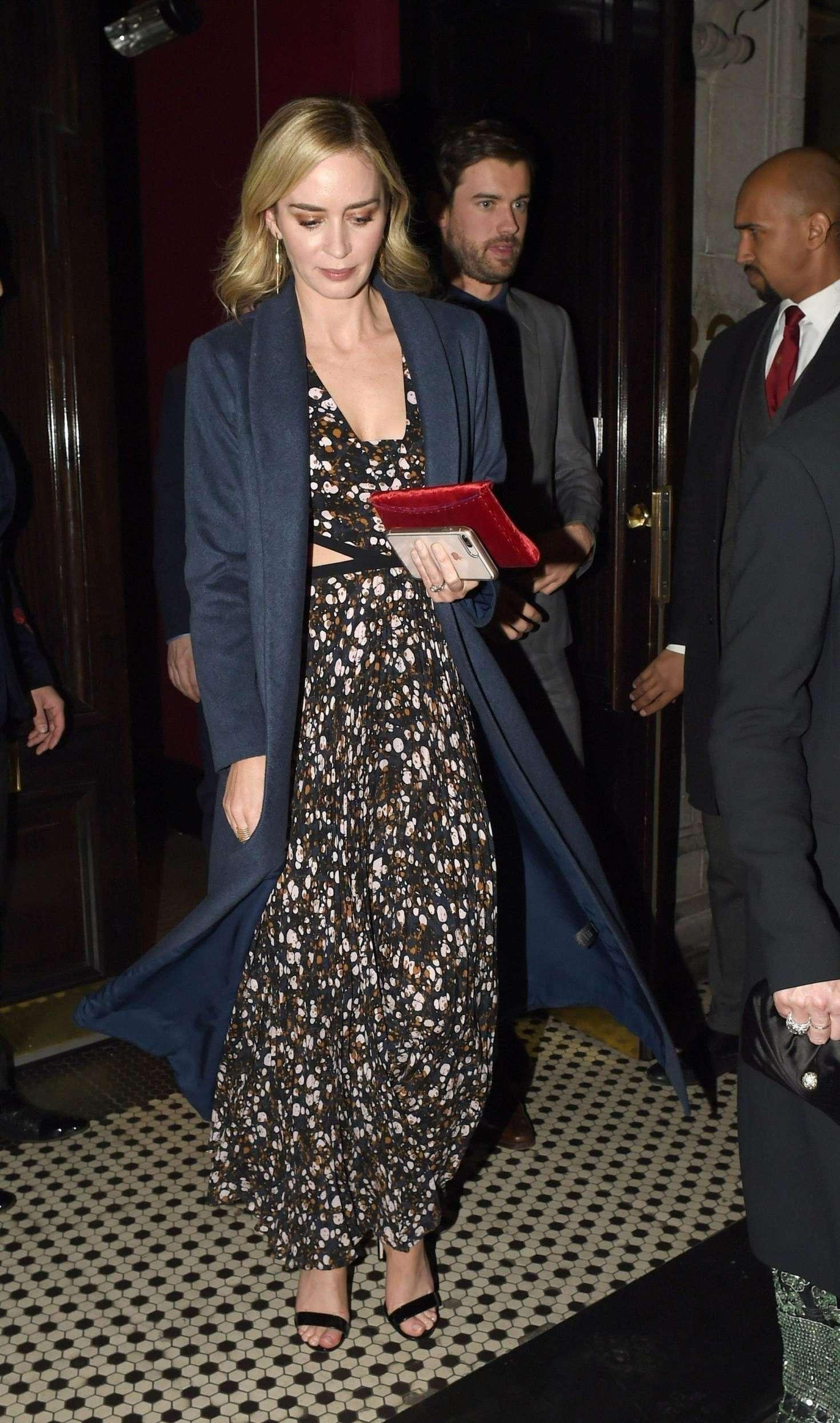 Emily Blunt - Leaving a swanky establishment in Mayfair