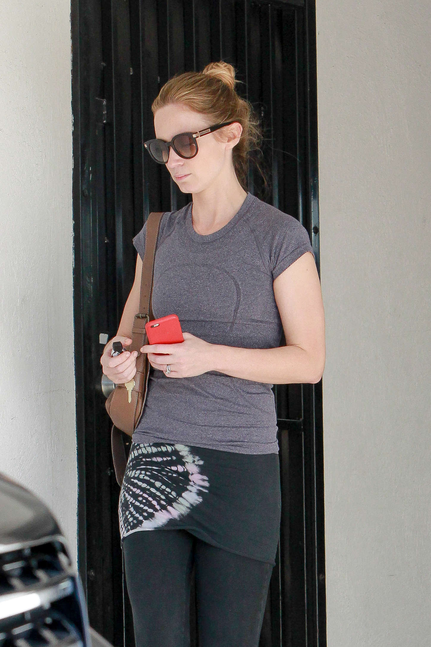 Emily blunt in tights leaving rise movement gym west