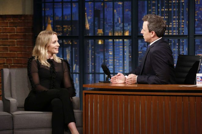 Emily Blunt on 'Late Night with Seth Meyers' in New York City