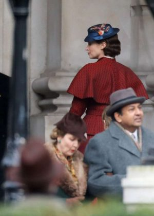 Emily Blunt on set 'Mary Poppins Returns' in London