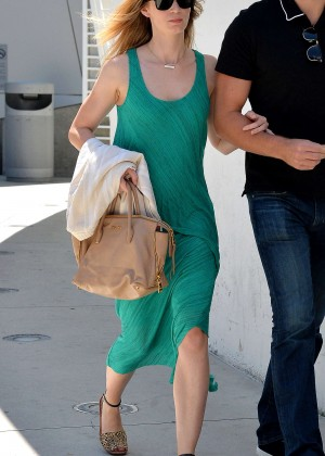 Emily Blunt in Green Dress Out in Los Angeles