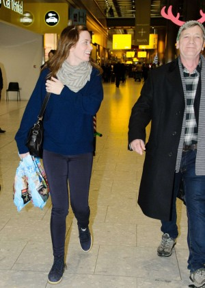 Emily Blunt at Heathrow Airport -09