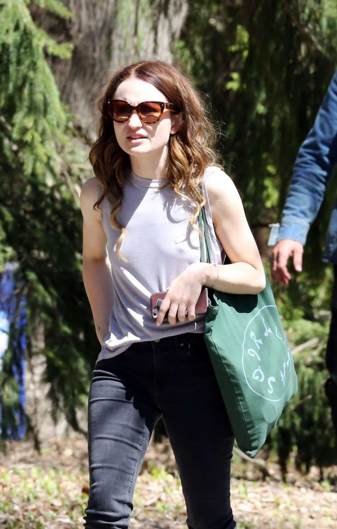 Emily Browning in Black Jeans out in Toronto