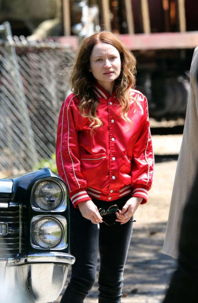 Emily Browning on the set of 'American Gods' in Toronto