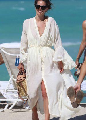Emily DiDonato on the beach in Miami Beach