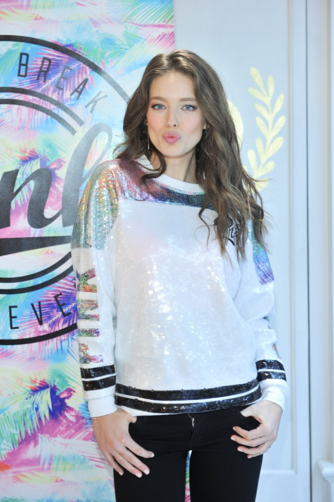 e6c2ee9d4af Emily Didonato - Victoria s Secret PINK Limited Release Varsity Crew Launch  in Buffalo