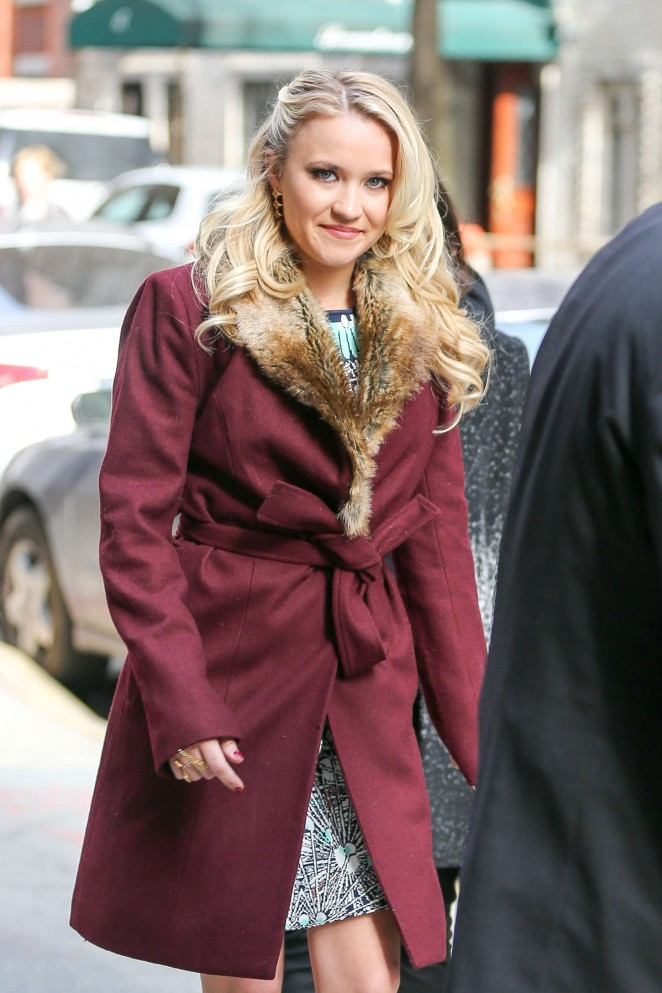 Emily Osment in Short Coat Out in Manhattan