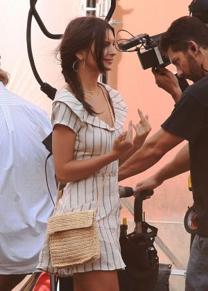 Emily Ratajkowski and Aaron Paul on the set of the 'Welcome home' in Todi