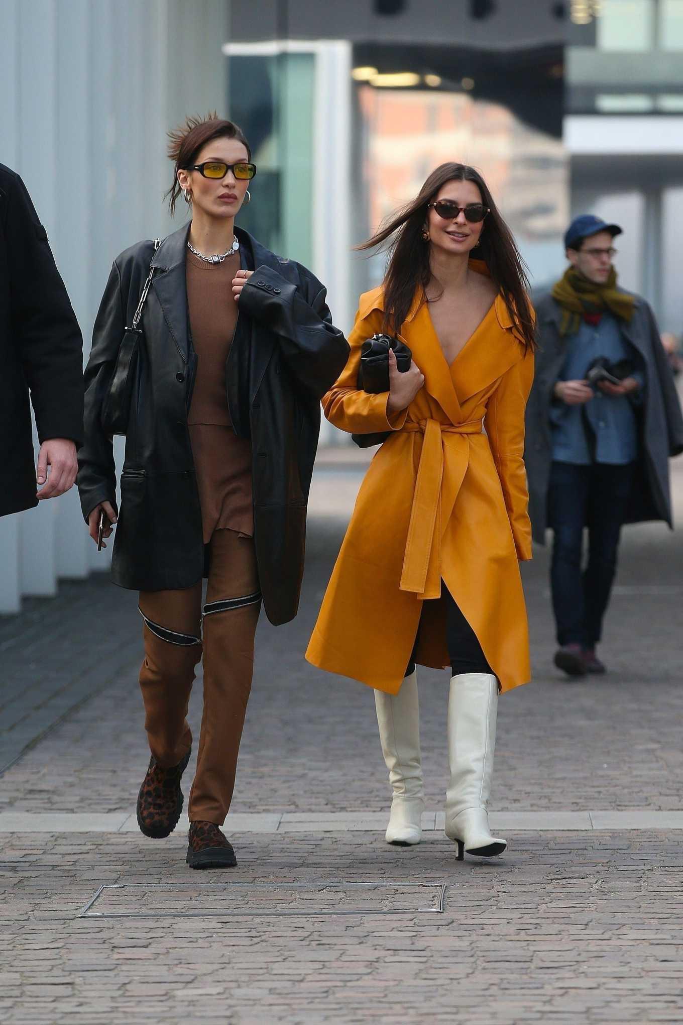 Emily Ratajkowski 2020 : Emily Ratajkowski and Bella Hadid visiting Fondazione Prada exhibition in Milan-03