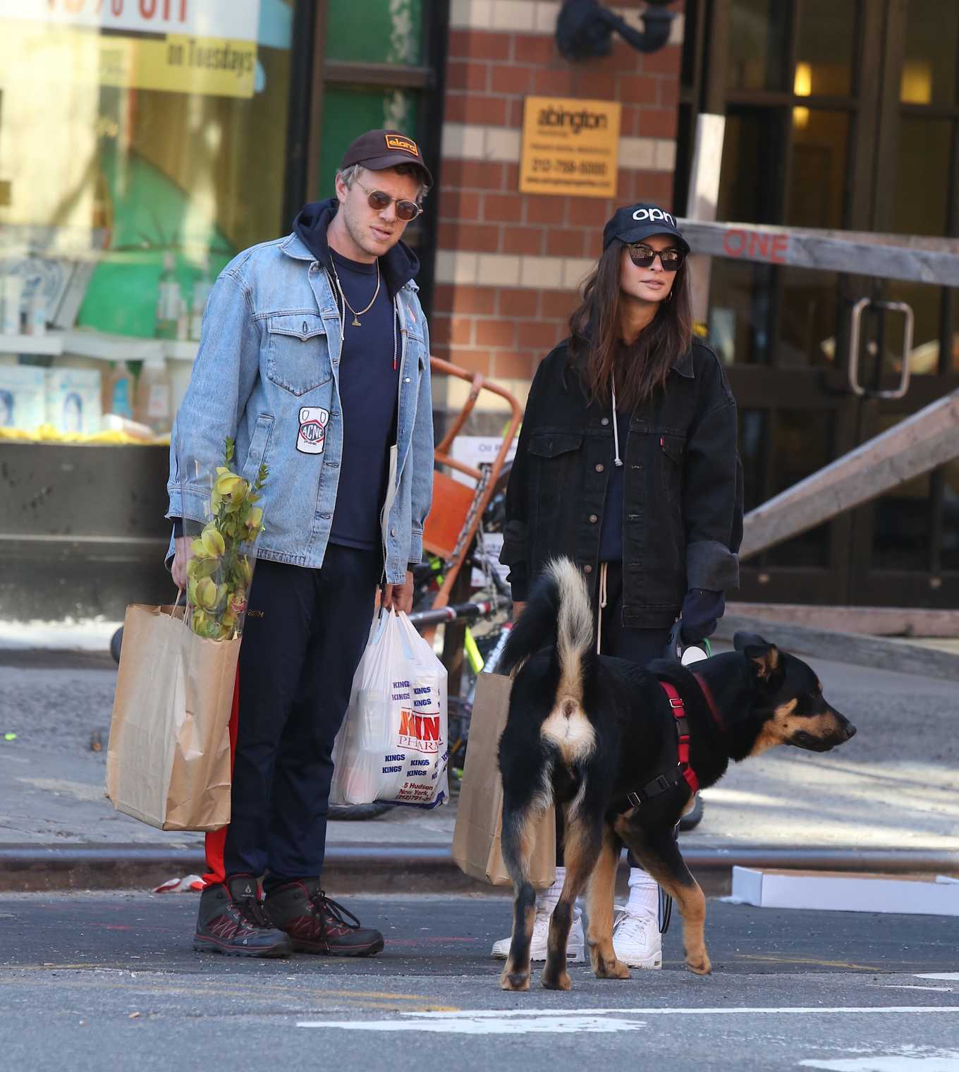 Emily Ratajkowski and Sebastian Bear-McClard - Shopping with their dog in Soho