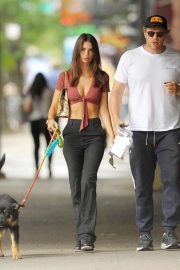 Emily Ratajkowski and Sebastian Bear-McClard - Take their dog Columbu for a walk in New York