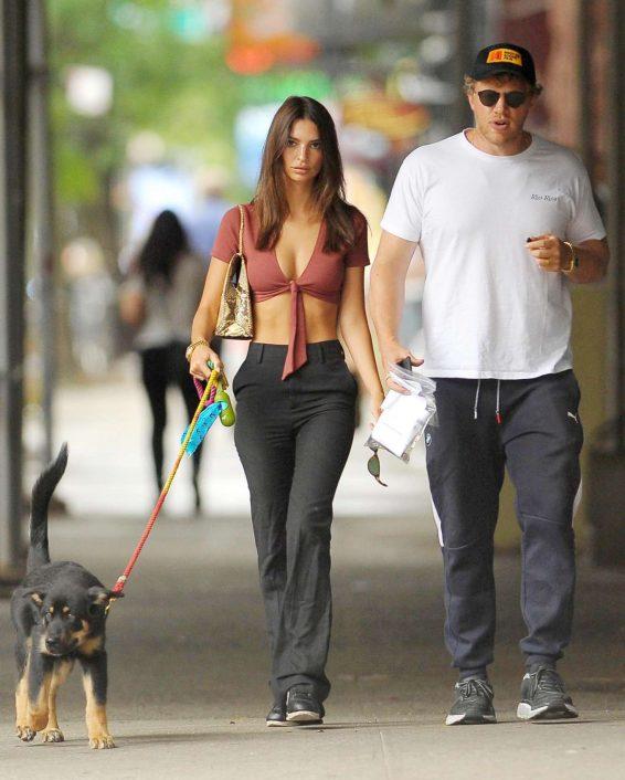 Emily Ratajkowski and Sebastian Bear-McClard - Take their dog Columbu for a walk in New York