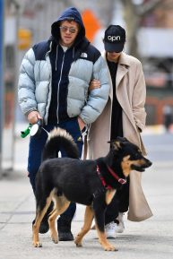 Emily Ratajkowski and Sebastian Bear-McClard - Walk their dog Colombo in New York