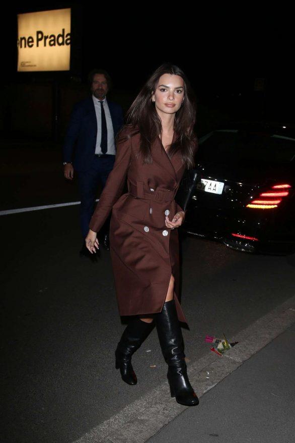 Emily Ratajkowski arrives at Prada dinner at Fondazione Prada