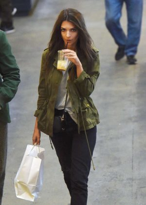 Emily Ratajkowski at Grand Central market in Los Angeles