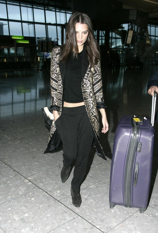 Emily Ratajkowski at Heathrow Airport in London