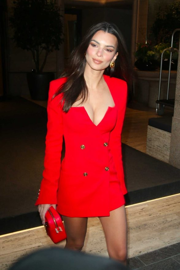 Emily Ratajkowski - In a red ensemble in Milan