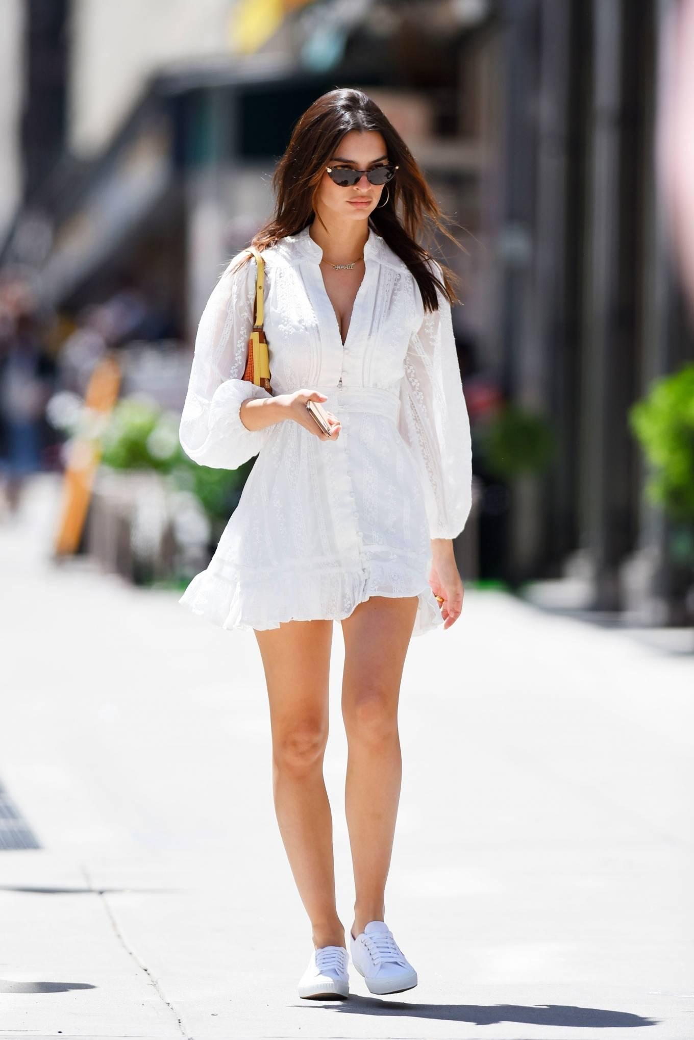 Emily Ratajkowski - In a white mini dress out in New York
